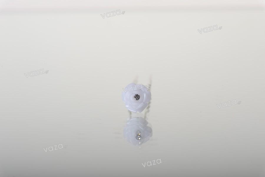 Καρφίτσα διακοσμητική μεταλλική με πέρλα και στρασάκι σε σχήμα τριαντάφυλλο (πλάτος 12 mm) – 20 τμχ