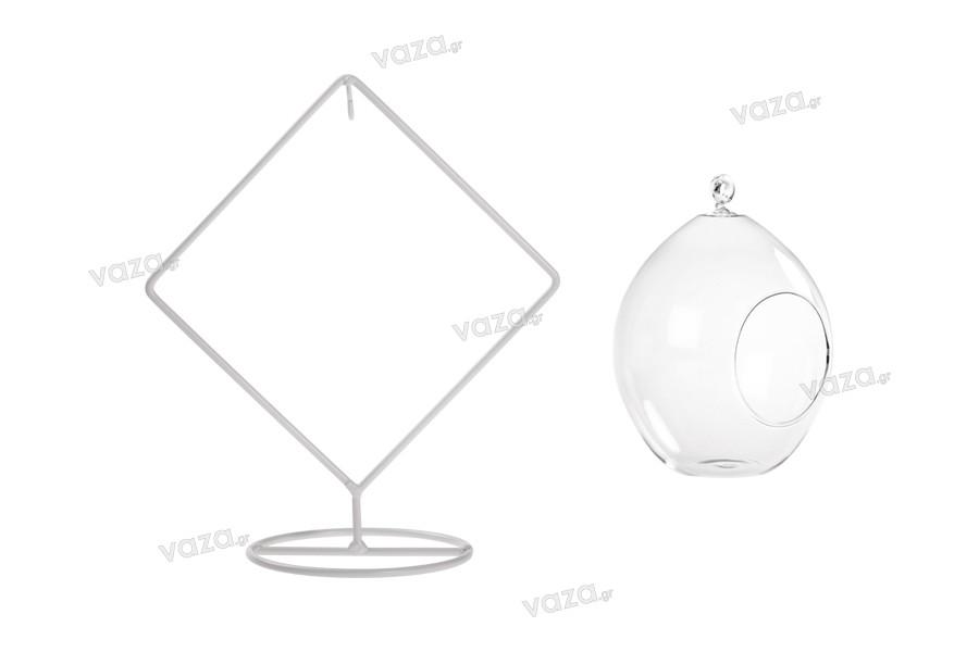 Γυάλινο διακοσμητικό κρεμαστό με λευκή μεταλλική βάση