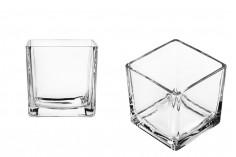 Porte-bougies décoratif en verre de forme carrée -100x100mm