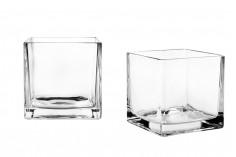 Porte-bougies décoratif carré en verre -150x150 mm