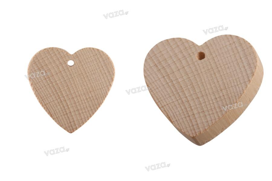 Καρδιές ξύλινες με τρύπα - 25 τμχ