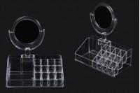 Θήκη - βάση οργάνωσης καλλυντικών και μακιγιάζ ακρυλική, 4 επιπέδων (θέσεις 15) με καθρέφτη