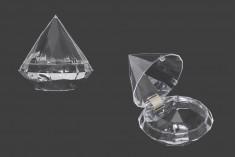 Kουτάκι για μπομπονιέρα γάμου - βάπτισης, πλαστικό σε σχήμα διαμαντιού - 12 τμχ