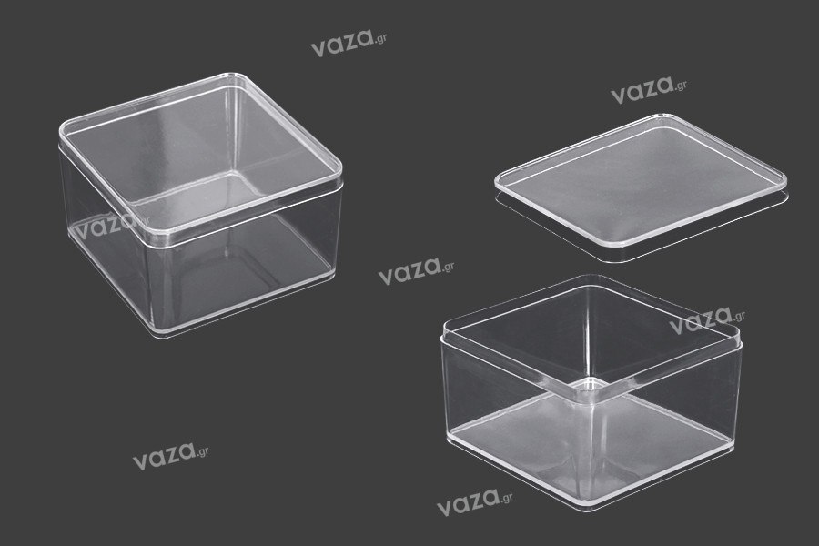 Kουτάκι για μπομπονιέρα γάμου - βάπτισης 90x90x57 mm διάφανο, πλαστικό