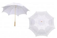 Ομπρέλα γάμου υφασμάτινη με δαντέλα σε λευκό χρώμα