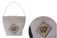 Πουγκάκια χειροποίητα για μπομπονιέρες σε εκρού χρώμα 64x45x73 mm - 12 τμχ