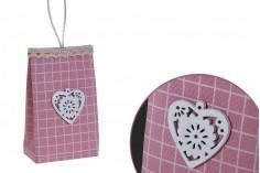 Μπομπονιέρες πουγκάκια χειροποίητα με χερούλι σε χρώμα ροζ 75x44x122 mm - 12 τμχ