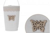 Πουγκάκια χειροποίητα με χερούλι για μπομπονιέρες σε εκρού χρώμα 64x45x124 mm - 12 τμχ