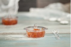 Σετ Βαζάκια (κυπελάκια) πλαστικά με κουταλάκια για γλυκά και μικρό προφιτερόλ - Συσκευασία 12 τμχ (για κωδ. 239-1)