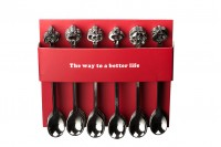Κουταλάκια πλαστικά gunmetal σε διάφορα σχήματα - Συσκευασία 24 τεμαχίων