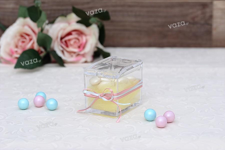 Κουτάκι πλαστικό 81x57x70 mm διάφανο με ενσωματωμένο καπάκι και κουταλάκι (μήκος 118 mm) για γλυκά και μπαχαρικά