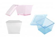 Κυπελλάκι (μπολ) για γλυκά βάπτισης 70 ml πλαστικό 4πλευρο με καπάκι - 100 τμχ