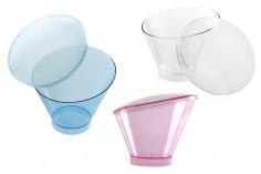 Κυπελλάκι (μπολ) για γλυκά βάπτισης 130 ml πλαστικό ασύμμετρο με καπάκι - 30 τμχ