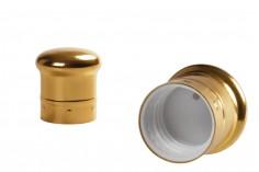 Καπάκι PP18 πλαστικό με επικάλυψη αλουμινίου χρυσό γυαλιστερό με διάφανη τάπα