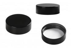 Καπάκι πλαστικό μαύρο με εσωτερικό παρέμβυσμα για βάζα 30 ml