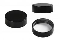 Couvercle en plastique noir avec joint intérieur pour bocaux de 50 ml