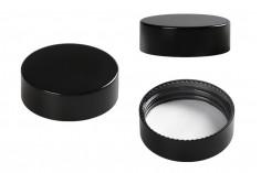 Καπάκι πλαστικό μαύρο με εσωτερικό παρέμβυσμα για βάζα 50 ml