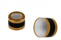 Δαχτυλίδι αλουμινίου χρυσό με μαύρη ρίγα για σταγονόμετρα 5 έως 100 ml