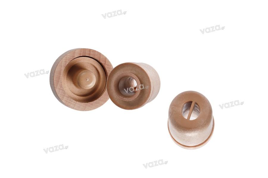 Συνθετικός φελλός σιλικόνης με ροή και ξύλινη αποσπώμενη κεφαλή - Ф 23 mm