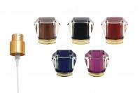 Lot – vaporisateur doré et capuchon acrylique (PP15) variété de couleurs