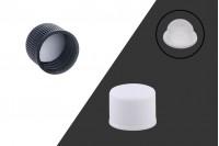 Καπάκι πλαστικό PP18 με παρέμβυσμα και εσωτερική τάπα σε λευκό ή μαύρο χρώμα