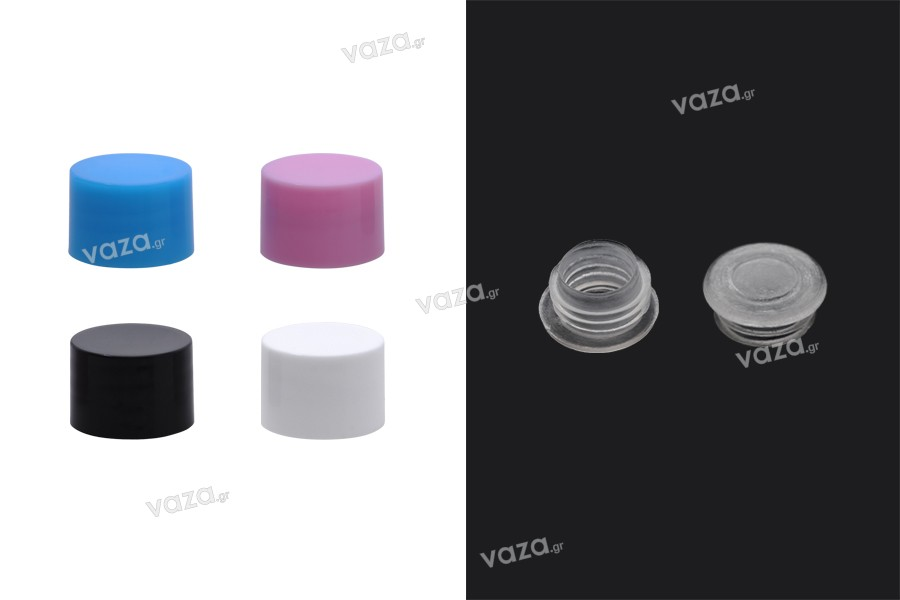 Καπάκι πλαστικό PP18 σε διάφορα χρώματα με εσωτερικό παρέμβυσμα και πλαστική τάπα