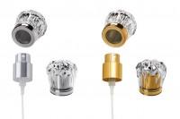 Set- vaporisateur en aluminium et couvercle en plastique acrylique PP15 argenté ou doré