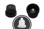 Καπάκι ασφαλείας πλαστικό PP18 μαύρο με εσωτερική ροή