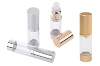 Airless bottle for aqueous mixtures 15 ml with plastic, transparent body, aluminum cap and base in 3 colors (gold, silver glossy and MATTE)