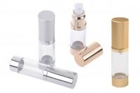 Flacon en aluminium 15 ml airless pour mélanges aqueux avec corps en plastique transparent en 3 couleurs (or, argenté satiné et MAT)