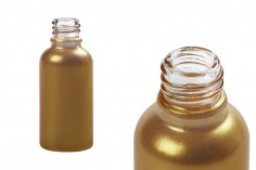 Flacon doré brillant en verre de 30ml pour huiles essentielles, avec orifice PP18