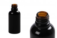 Flacon noir brillant en verre pour huiles essentielles 30 ml avec orifice PP18