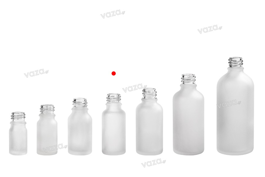 Γυάλινο μπουκαλάκι για αιθέρια έλαια 20 ml διάφανο αμμοβολής με στόμιο PP18