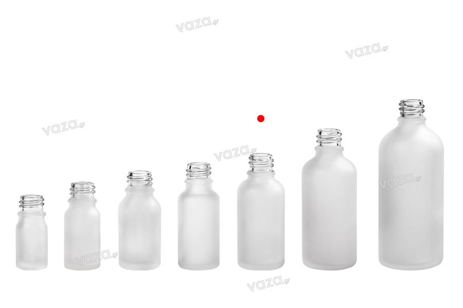 Γυάλινο μπουκαλάκι για αιθέρια έλαια 30 ml διάφανο αμμοβολής με στόμιο PP18