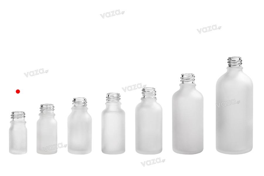 Γυάλινο μπουκαλάκι για αιθέρια έλαια 5 ml διάφανο αμμοβολής με στόμιο PP18