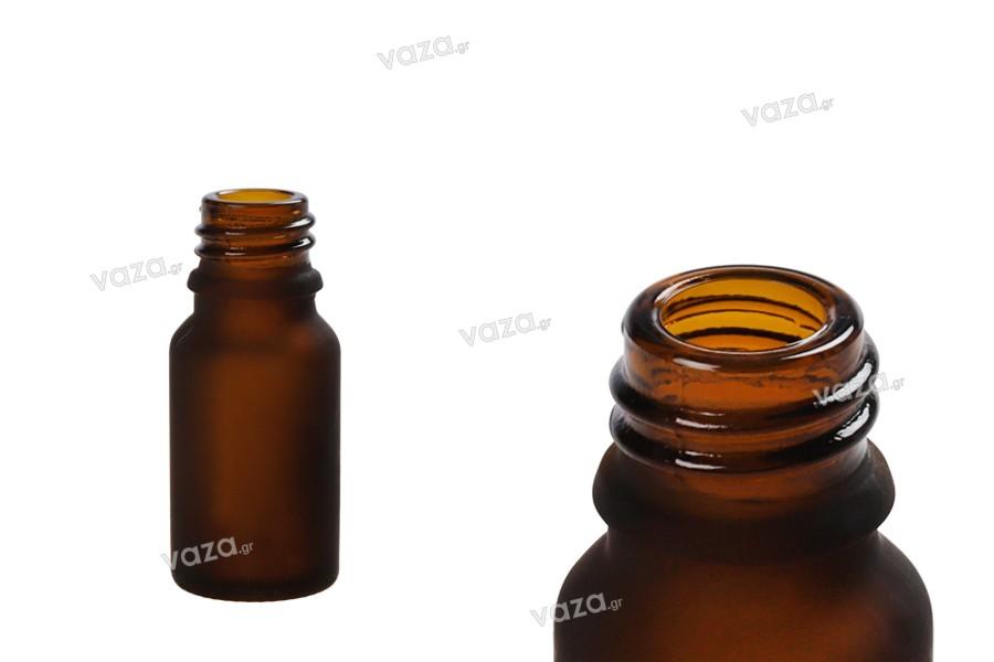 Γυάλινο μπουκαλάκι για αιθέρια έλαια 10 ml καραμελέ αμμοβολής με στόμιο PP 18