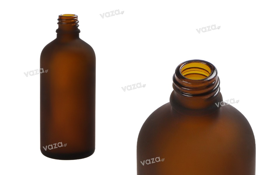 Γυάλινο μπουκαλάκι για αιθέρια έλαια 100 ml καραμελέ αμμοβολής με στόμιο PP18