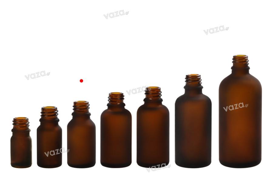 Γυάλινο μπουκαλάκι για αιθέρια έλαια 15 ml καραμελέ αμμοβολής με στόμιο PP 18