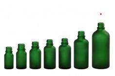 Γυάλινο μπουκαλάκι για αιθέρια έλαια 100 ml πράσινο αμμοβολής με στόμιο PP18