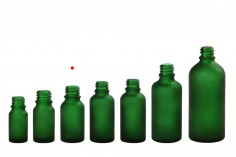 Γυάλινο μπουκαλάκι για αιθέρια έλαια 15 ml πράσινο αμμοβολής με στόμιο PP18