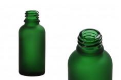 Γυάλινο μπουκαλάκι για αιθέρια έλαια 30 ml πράσινο αμμοβολής με στόμιο PP18
