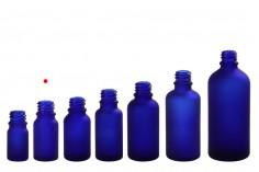 Γυάλινο μπουκαλάκι για αιθέρια έλαια 10 ml μπλε αμμοβολής με στόμιο PP18