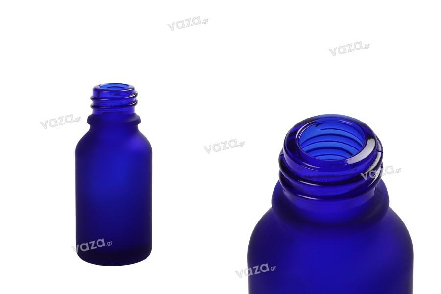Γυάλινο μπουκαλάκι για αιθέρια έλαια 15 ml μπλε αμμοβολής με στόμιο PP18