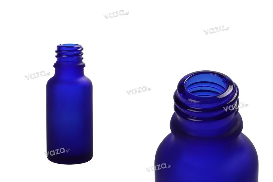 Γυάλινο μπουκαλάκι για αιθέρια έλαια 20 ml μπλε αμμοβολής με στόμιο PP18