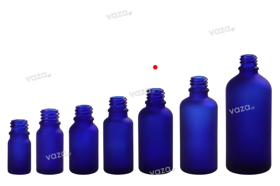 Γυάλινο μπουκαλάκι για αιθέρια έλαια 30 ml μπλε αμμοβολής με στόμιο PP18