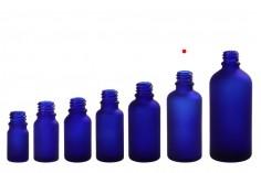 Γυάλινο μπουκαλάκι για αιθέρια έλαια 50 ml μπλε αμμοβολής με στόμιο PP18