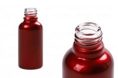 Flacon rouge brillant en verre de 30ml pour huiles essentielles, avec orifice PP18