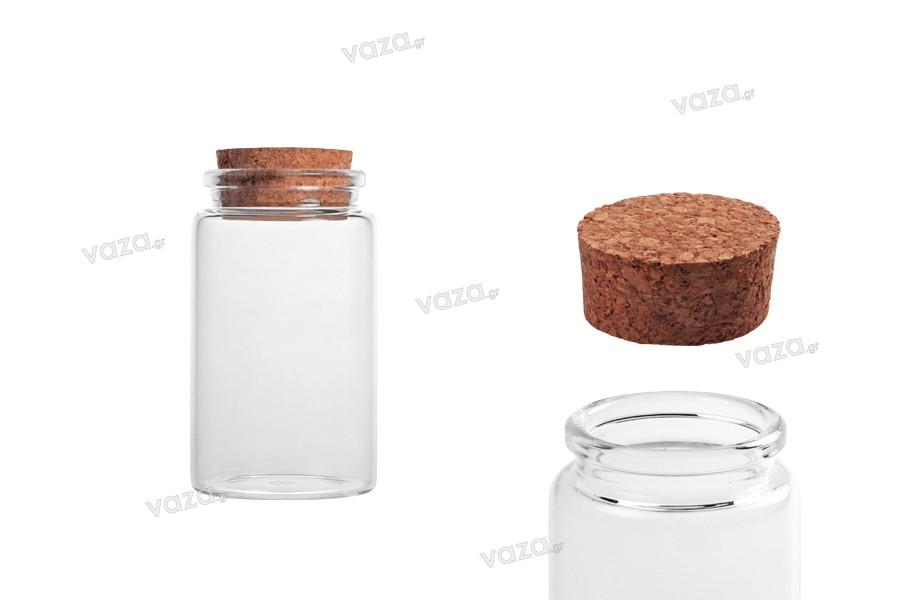 Γυάλινο μπουκαλάκι 100 ml ευρύστομο με κωνικό φελλό 47x85