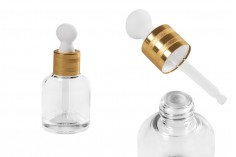 Flacon en verre de 30ml, avec compte-gouttes et accessoire pour drainer- différentes couleurs