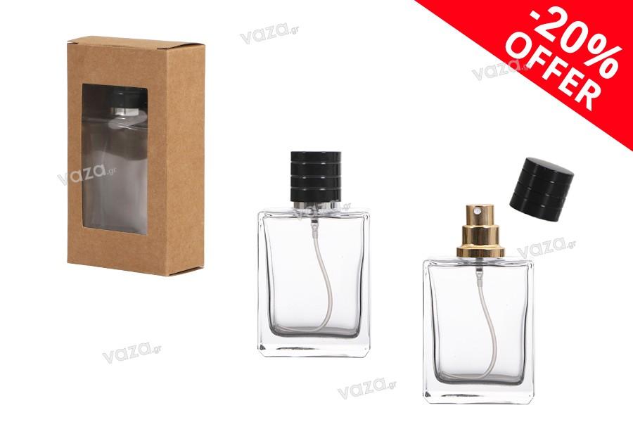 Offre spéciale! Flacon en verre de parfum 50ml avec spray doré ou argenté, élégant bouchon en plastique et boîte en carton avec fenêtre. De 2,29 € à 1,84 € le coffret (minimum de commande : 1 boîte)